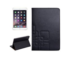For iPad Mini 4 Black Crazy Horse and Lattice Texture Leather Case