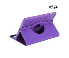 For iPad Mini 4 Purple Denim Leather Case with 360° Rotation Holder