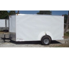 New White EXT 6 x12 ' Enclosed Cargo with Bar Lock Side Door &V-Nose Front