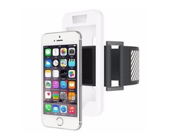 For iPhone 5/5S/SE White Dual Control Sport Armband with Detachable Case