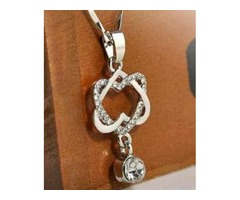 NEW Women's Silver Plated Double Heart Chain Necklace Pendant Jewelry Hot