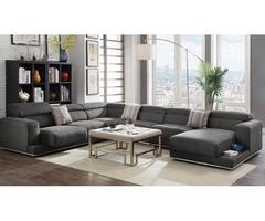 4Pcs Dark Gray Fabric Sectional Sofa Right Chaise