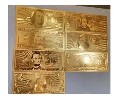 24k gold foil banknote 7 Pcs