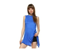 Trendy sleeveless blue tunic top by Carrie Allen