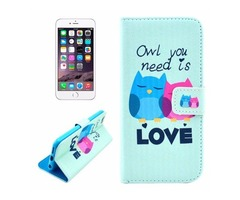 For iPhone 6/6s Owl Leather Case with Holder, Money pocket