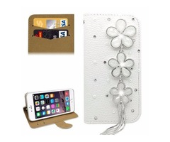 For iPhone 6/6s Diamond Flower Leather Case with Holder & Card Slots