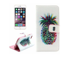 For iPhone 6/6s Cross Pineapple Leather Case with Holder, Wallet