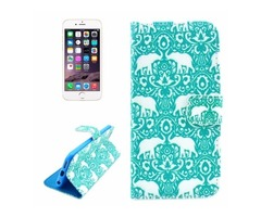 For iPhone 6/6s Elephant Pattern Leather Case with Holder, Wallet