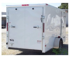 Motorcycle Trailer White 6 foot x 12 with V Front and Side Door