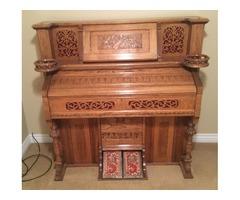 Beautiful oak antique carved pump organ