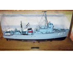 BOAT MODEL - Nautical - USS WHIPPOORWILL in Case