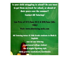 $15/Hour Affordable K-10 Tutoring