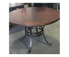 Round Dining Table with Curved Metal Legs