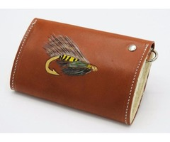 Custom Tooled Tan Leather Fly Fishing Wallet Case with Sheepskin Fleece