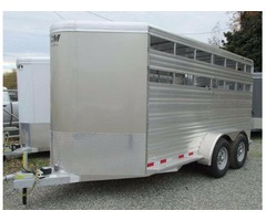 2017 CM Stocker 16' X 6'8 X 7 Aluminum Livestock Trailer