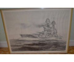 1981-USS Arizona WWII Signed Drawing PLUS matching MAP