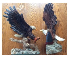 2 Large Bald Eagle Ceramic Figurines