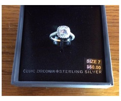 Stunning Sterling Silver CZ Size 7 Ring