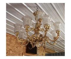 Huge Stunning Beautiful Crystal Brass Chandelier