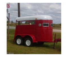 2 horse red and white trailer