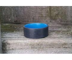 Handmade Battleship Grey Unidirectional Ring with Blue Inside