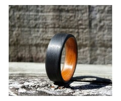Carbon Fiber Unidirectional Ring with orange inside