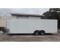 CAR HAULER for sale! NEW Ramp Door Wht 8.5 foot by 24 foot w/ Drings