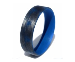 Texalium Silver ring with Blue inside