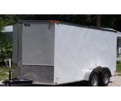7'x14 White EXT Motorcycle Hauler w/Tandem Axle & Extra 3