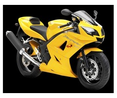 Authentic Yellow Triumph Daytona Motorcycle Bike