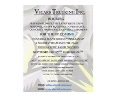 Vicars Trucking is in need of Temp