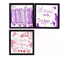"Doodle Art on Velvet Trim 4"" x 4"" cards"