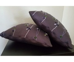 2 PCS SILK WITH FLORETS FEATHER THROW PILLOWS