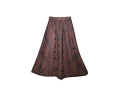 Womens Long Skirt Floral Embroidered Rayon A-Line Boho Flare Peasant Skirts