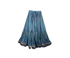 Womens Long Skirts Bellydance Vintage Sari Gypsy Flare Tiered Maxi Skirts