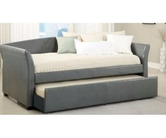 Black Faux leather bedroom set w/roll out trundle bed