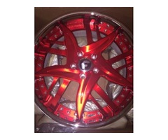 NEW ! Custom Painted Red Forgiato Rims & Tires