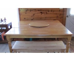 Pine kitchen table, chairs and bench