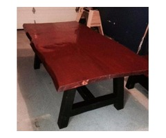 Home Made Pine Slab Dining Table & Set