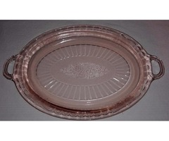 "VINTAGE PINK ""MAYFAIR OPEN ROSE"" DEPRESSION GLASS PLATTER"