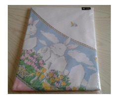 """TOBIN HOME FASHIONS EASTER MEADOW 70"""" ROUND TABLECLOTH-VINTAGE-NEW"""