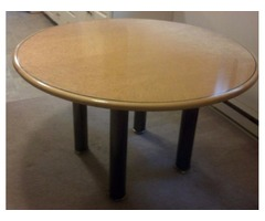 Dining Table (light burlwood?) with removable metal legs