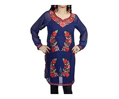 Womens Kashmiri Tunic Floral Embroidered Georgette Boho Indian Blue Kurti Shirt Dress