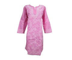 Womens Top Tunic Kurti Floral Embroidered Cotton Yoga Wear Pink Blouse