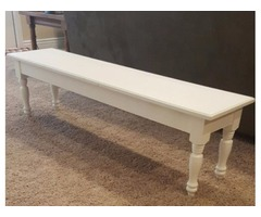 Wooden Bench, painted white