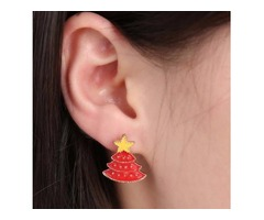 New Earring Red Christmas Tree