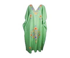 Womens Evening Caftan Kashmiri Floral Embroidery Cotton Kaftan Maxi Dress