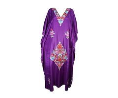 Womens Caftan Kashmiri Ari-Floral Embroidery Cover Up Kaftan Maxi Dress