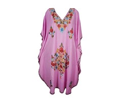 Womens Evening Caftan Floral Embroidery Kashmiri Kaftan Maxi Dress Cover Up