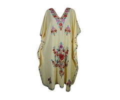 Womens Caftan Kashmiri Floral Embroidered Cover Up Kaftan Evening Maxi Dress